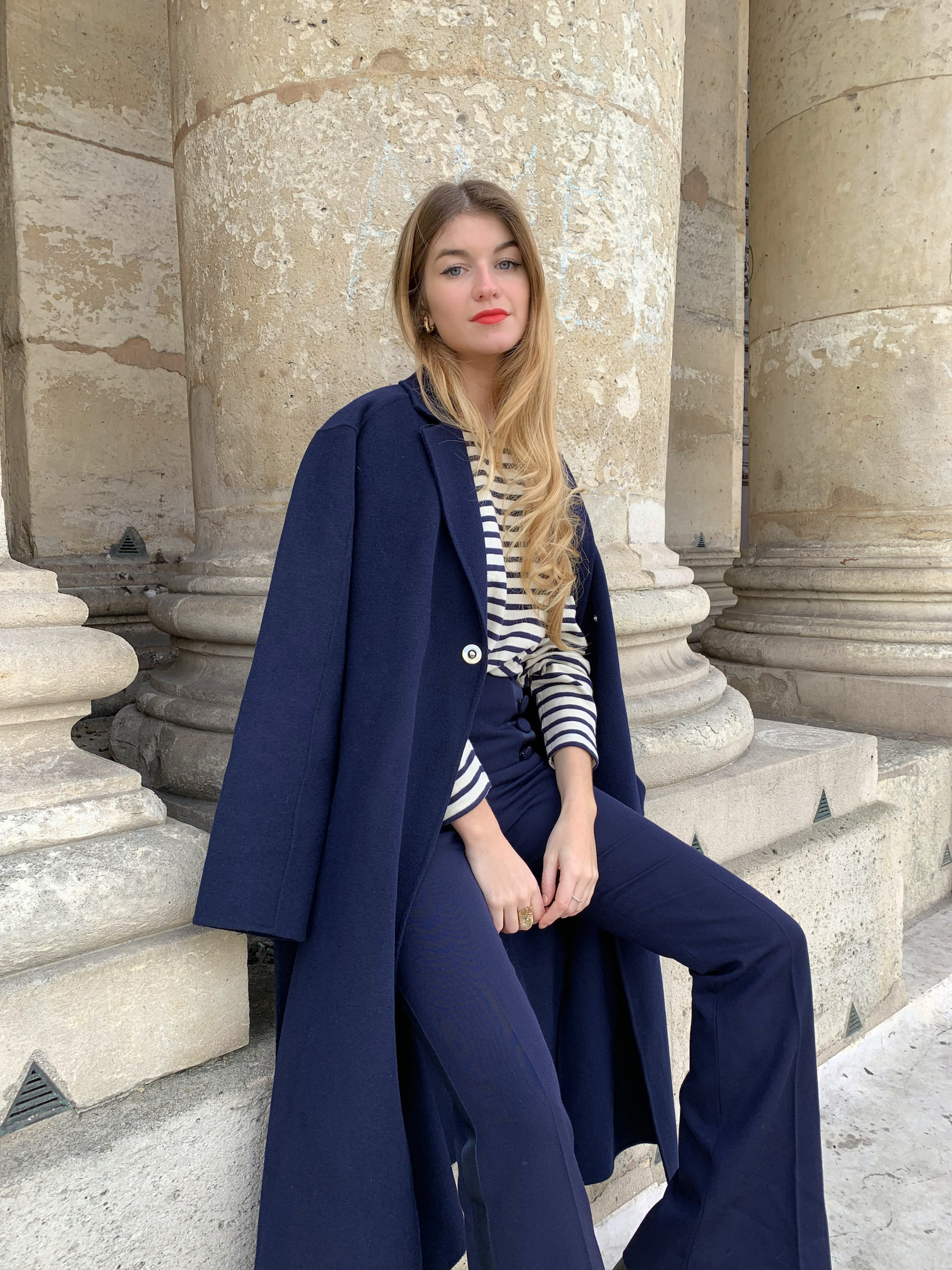 Constance Arnoult in a Maje wool coat
