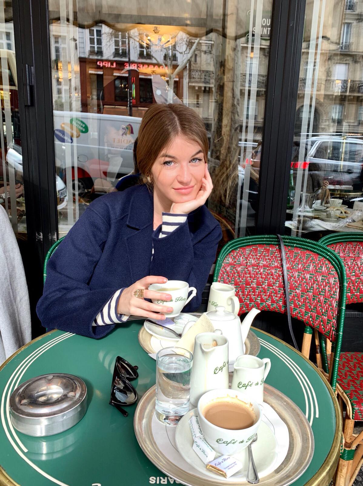 Constance Arnoult talking French style and French beauty at Café de Flore in Paris