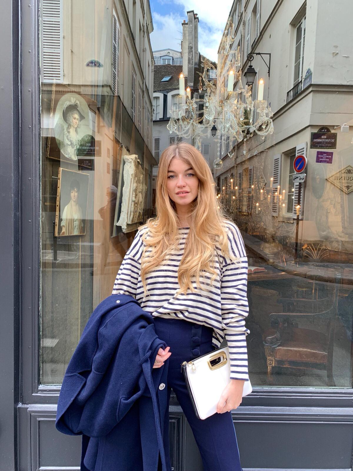 Constance Arnoult wearing a striped marnière top