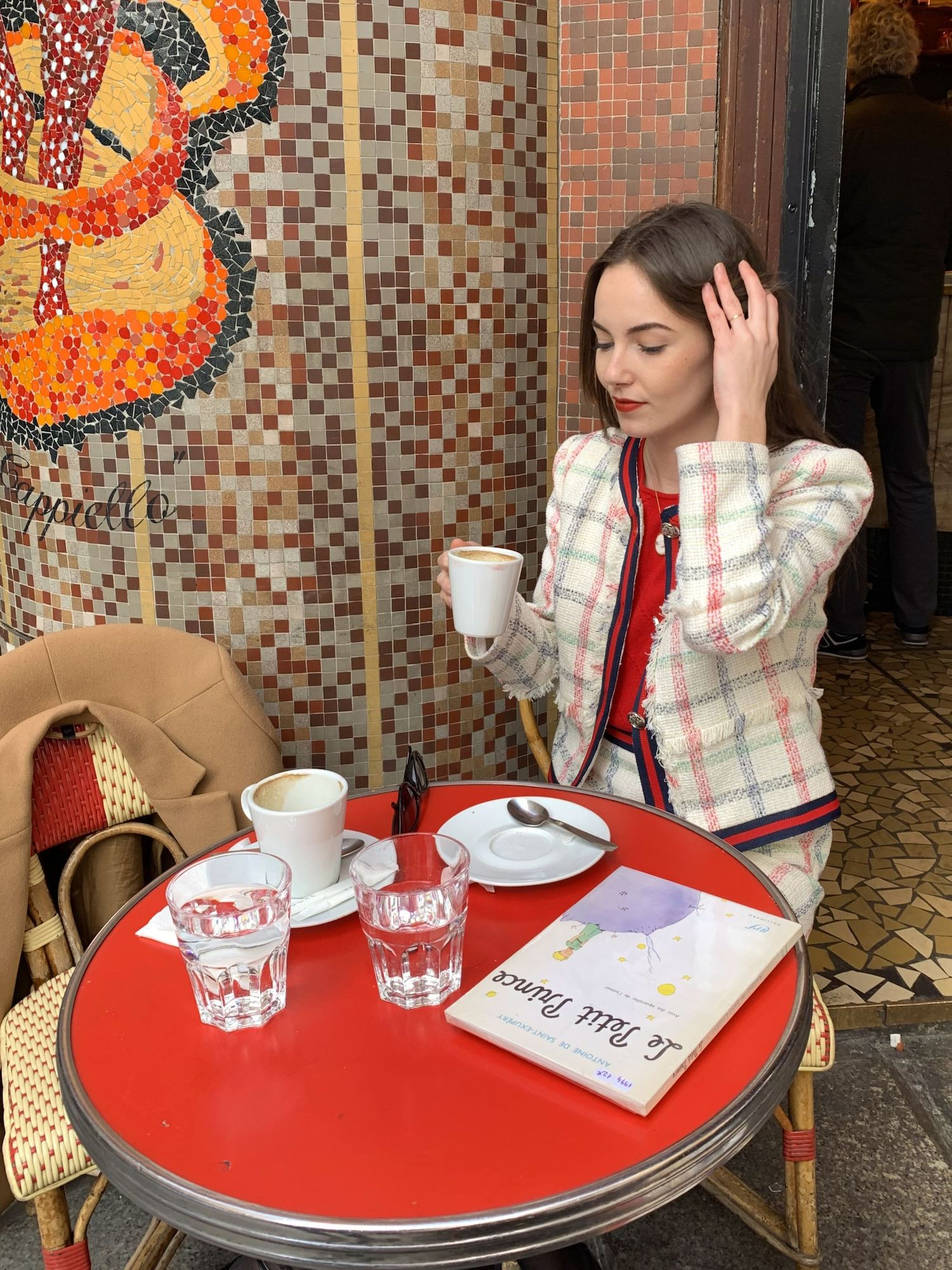 Lea-Elisabeth at a café in Saint-Germain, Paris wearing Claudie Pierlot