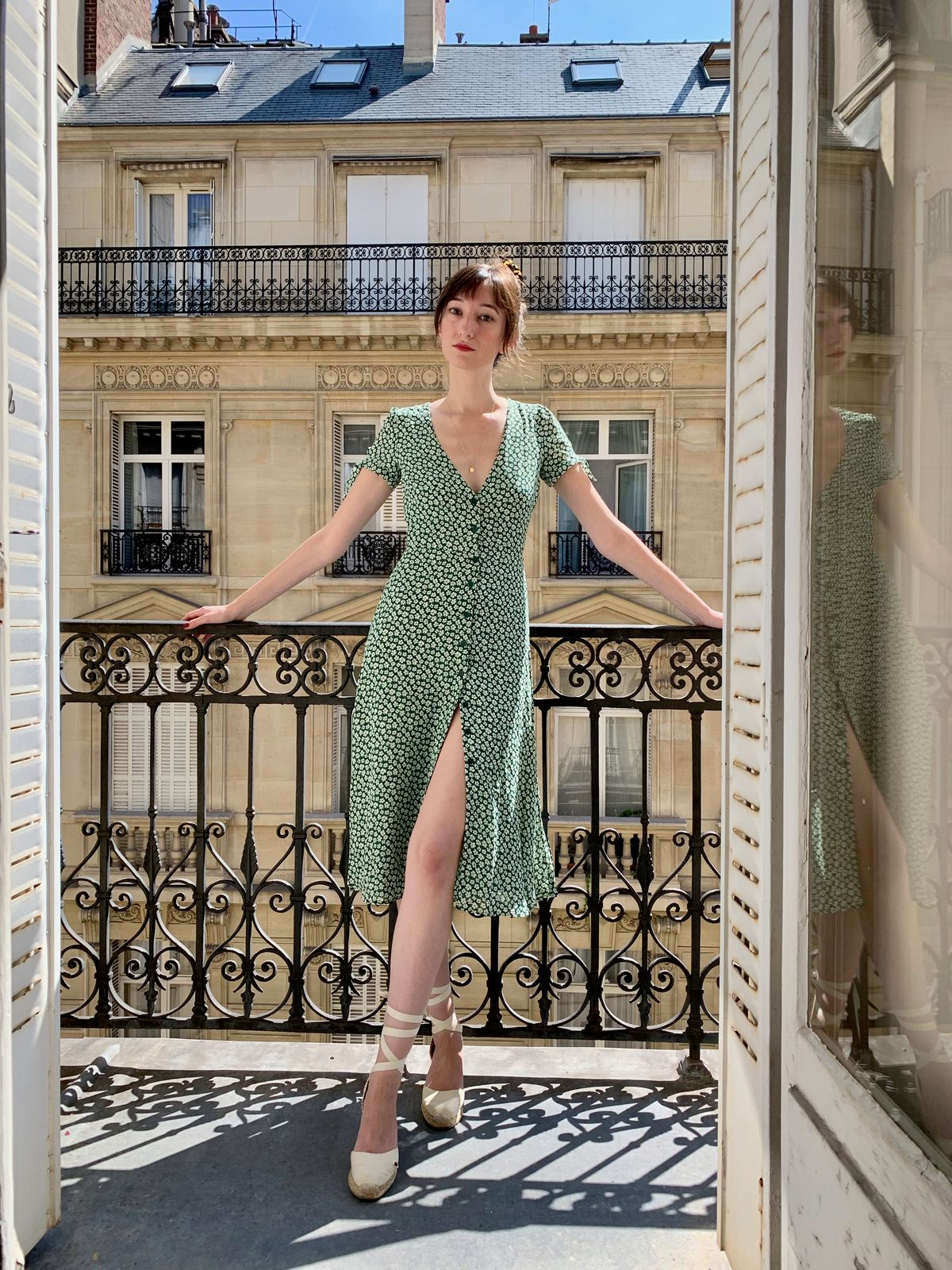 Reformation dress, Castaner espadrilles on a Parisian balcony