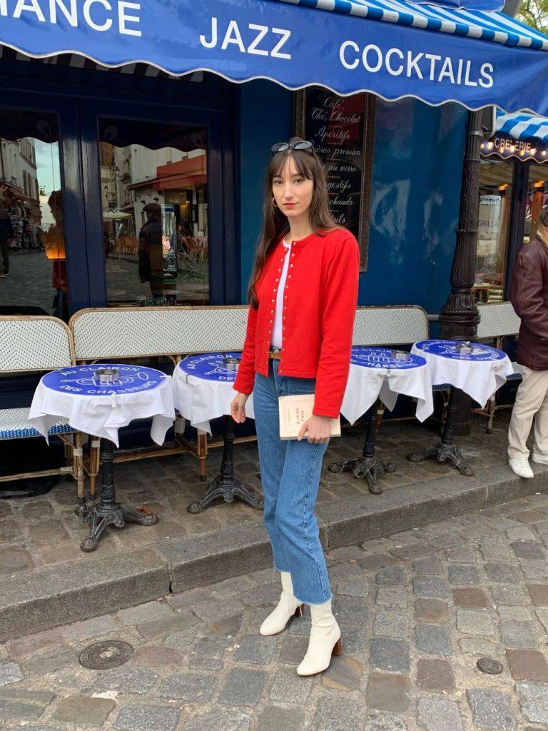 Agnes B Paris Zip Down Sweatshirt Fashion Designer Grey Colour Women France Brand Clothing Sweater Size XLarge