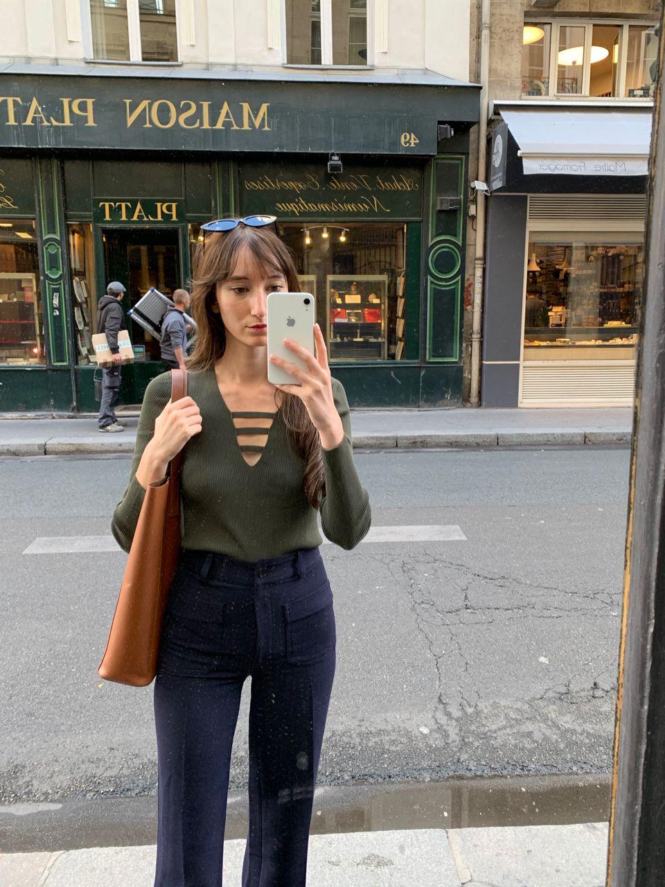 Early Fall Parisian Looks - Sandro Top, Nathalie Dumeix Pants, Everlane leather bag