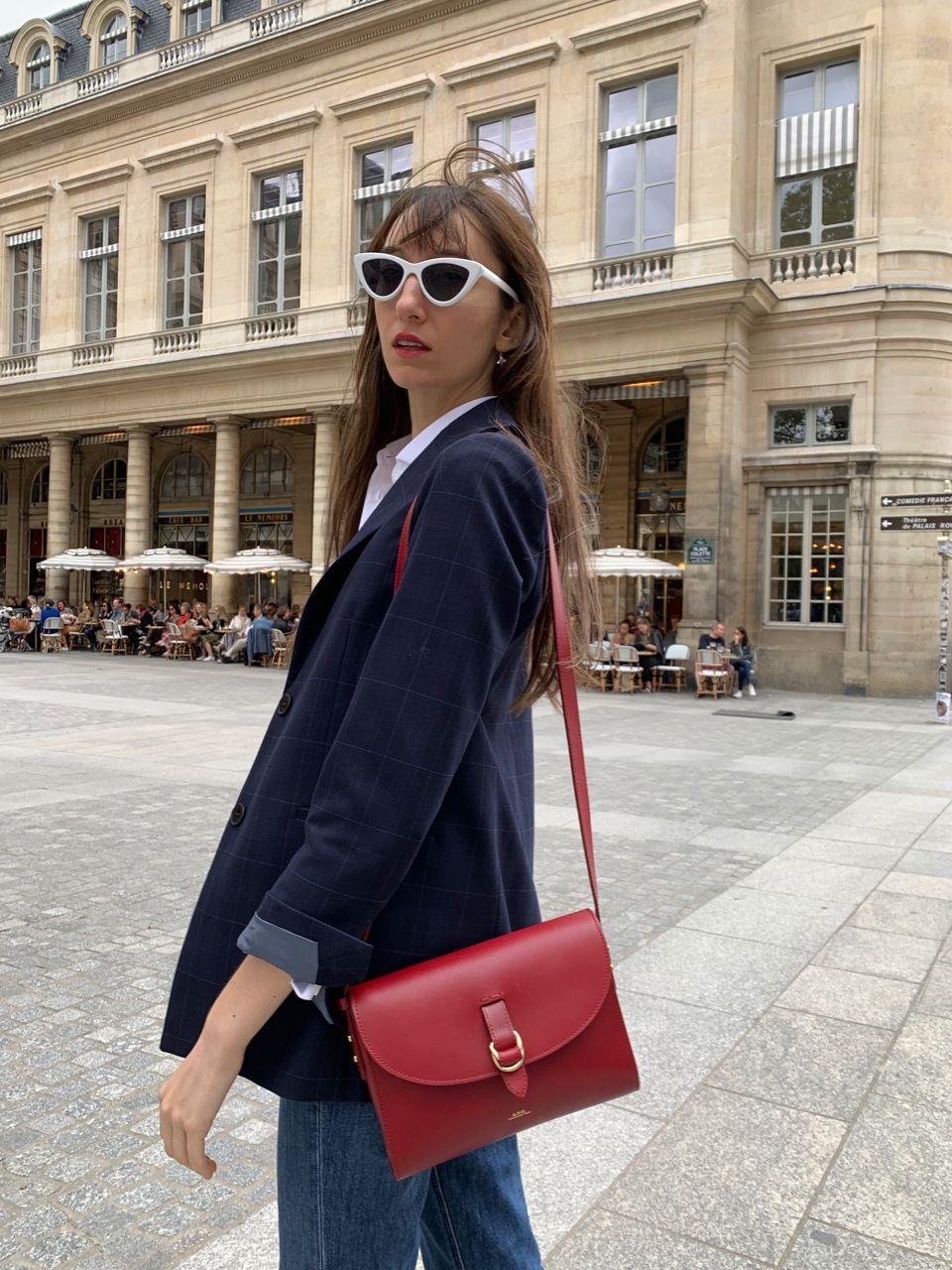 Early Fall Parisian Looks - Maje navy blazer